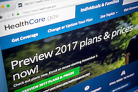 The Healthcare.gov website, assisting consumers in obtaining health insurance on Tuesday, October 25, 2016.  Premiums under Obamacare are expected to go up an average of 25 percent in 2017 in the 39 states that provide insurance under the federal marketplace. In addition the pool of insurers will shrink with some states offering only one option. (© Richard B. Levine)