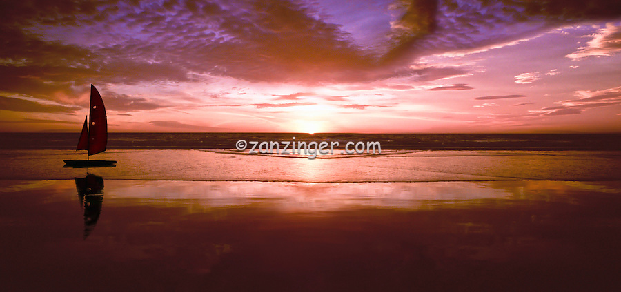Santa Monica Bay Ocean Sunset Panorama, Hobie Cat on beach CGI Backgrounds, ,Beautiful Background