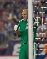 New England Revolution goalkeeper Matt Reis (1) back in net, following off-season surgery and injury to fellow goalkeeper, directs teammates. The Chicago Fire defeated the New England Revolution, 1-0, at Gillette Stadium on June 27, 2010.