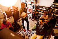 Los Angeles, Calif., April 26, 2009 - From left, Garrett Ray, Matt Popieluch, Ariel Rechtshaid and Lewis Nicolas Pesacov of the band Foreign Born in Rechtshaid's studio in the Echo Park section of Los Angeles.