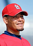 14 March 2007: St. Louis Cardinals catcher Yadier Molina warms up prior to facing the Washington Nationals at Roger Dean Stadium in Jupiter, Florida...Mandatory Photo Credit: Ed Wolfstein Photo