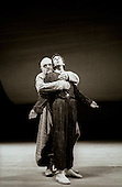 """King Lear (Anthony Hopkins) and Fool (Roshan Seth) in  """"King Lear"""" by William Shakespeare at the National Theatre, London 1986.  Directed by David Hare and designed by Hayden Griffin."""