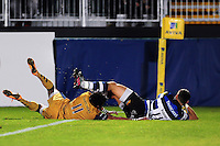 Jeff Williams of Bath United scores a try. Aviva A-League match, between Bath United and Bristol United on September 19, 2016 at the Recreation Ground in Bath, England. Photo by: Patrick Khachfe / Onside Images