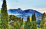 A view looking northeast from the ramparts of Saint Paul de Vence, on the Côte d'Azur, France, at sunrise.