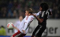 USSBALL   1. BUNDESLIGA    SAISON 2012/2013    10. Spieltag   Hamburger SV - FC Bayern Muenchen                    03.11.2012 Artjoms Rudnevs (li, Hamburger SV) gegen Dante (re, FC Bayern Muenchen)
