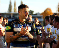 Matt Banahan of Bath Rugby leaves the field. Aviva Premiership match, between Bath Rugby and Harlequins on October 31, 2015 at the Recreation Ground in Bath, England. Photo by: Robbie Stephenson / JMP for Onside Images
