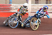 Heat 5: J Davidsson (blue) and F Lindgren - Lakeside Hammers vs Wolverhampton Wolves - Sky Sports Elite League Speedway at Arena Essex Raceway, Purfleet - 24/05/10 - MANDATORY CREDIT: Gavin Ellis/TGSPHOTO - Self billing applies where appropriate - Tel: 0845 094 6026