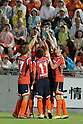 Omiya Ardija team group,..AUGUST 7, 2011 - Football / Soccer :..Omiya Ardija players put their black arm bands for the late Naoki Matsuda as they celebrate the opening goal scored by Rafael (2nd R) during the 2011 J.League Division 1 match between Omiya Ardija 2-2 Vegalta Sendai at NACK5 Stadium Omiya in Saitama, Japan. (Photo by Hiroyuki Sato/AFLO)