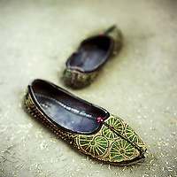 Jutti, a traditional Indian slipper. They are usually made of leather and delicately embroidered with threads or beads.