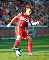 Chicago Fire forward Brian McBride (20) cuts the ball back.  The Chicago Fire tied DC United 0-0 at Toyota Park in Bridgeview, IL on Oct. 16, 2010.