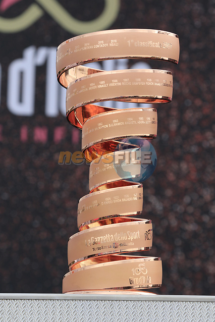 The Trophie Senza Fine on display at sign on before Stage 2 of the 100th edition of the Giro d'Italia 2017, running 221km from Olbia to Tortoli, Sardinia, Italy. 6th May 2017.<br /> Picture: Eoin Clarke | Cyclefile<br /> <br /> <br /> All photos usage must carry mandatory copyright credit (&copy; Cyclefile | Eoin Clarke)