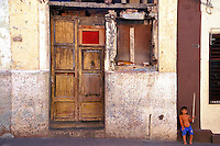 Old Havana Cuba Child Guarding House, Republic of Cuba, , pictures of front door entrances