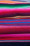 The coastal town of Loreto, Gulf of California, Baja California, Mexico.  Colorful blankets for sale.