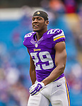 19 October 2014: Minnesota Vikings cornerback Xavier Rhodes warms up prior to facing the Buffalo Bills at Ralph Wilson Stadium in Orchard Park, NY. The Bills defeated the Vikings 17-16 in a dramatic, last minute, comeback touchdown drive. Mandatory Credit: Ed Wolfstein Photo *** RAW (NEF) Image File Available ***