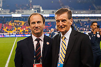 New York Red Bulls general manager Jerome De Bontin poses for a photo with sporting director Andy Roxburgh. The New York Red Bulls defeated the Chicago Fire 5-2 during a Major League Soccer (MLS) match at Red Bull Arena in Harrison, NJ, on October 27, 2013.