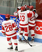 Louise Warren (BU - 28), Kaleigh Fratkin (BU - 13), Isabel Menard (BU - 20) - The Boston University Terriers defeated the visiting Union College Dutchwomen 6-2 on Saturday, December 13, 2012, at Walter Brown Arena in Boston, Massachusetts.