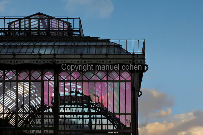 New Caledonia Glasshouse (formerly Mexican glasshouse), 1834, Charles Rohault de Fleury, Jardin des Plantes, Museum d'Histoire Naturelle, Paris, France. Detail of the metal and glass structure seen in the late afternoon winter light. The New Caledonia Glasshouse, or Hothouse, was the first French glass and iron building.