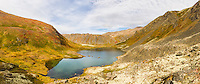 Composite panorama of Hanging Valley Tarn in South Fork Eagle River in Chugach State Park in Southcentral Alaska. Autumn. Afternoon.