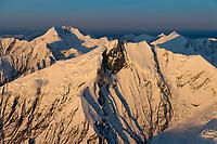 Mount Brooks (foreground) and Mount Mather in the background, Alaska range, Denali National Park, interior, Alaska.