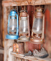 Three lanterns hanging in fire house, Bodie State Historic Park, California, USA