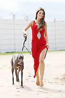 NO REPRO FEE. 2/8/2011. Pictured today was new Miss Universe Ireland, Aoife Hannon, and champion greyhound Kaiser in Shelbourne Park, Dublin who were on hand for the first trap draw to launch the richest greyhound race in the world, The Ladbrokes.com Irish Greyhound Derby. TheLadbrokes.com Irish Greyhound Derby offers a massive prize fund of EUR225,000, and is run over a distance of 550yds and takes place in Shelbourne Park on Saturday 10th September with qualifying rounds beginning on 3rd August 2011.  The Trap Draw takes place to determine the race and trap for each greyhound entered in to the eagerly anticipated Derby, and with 150 dogs due to take part this years competition is gearing up to be one of the most exciting in the history of the sport. Picture James Horan/Collins