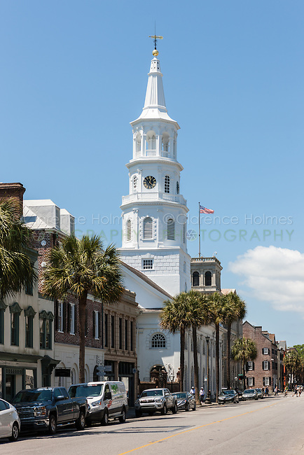 A view of Broad Street including the steeple of St. Michael's Episcopal Church in Charleston, South Carolina.