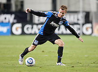 Chris Leitch extends for the ball. The San Jose Earthquakes defeated the Philadelphia Unioin 1-0 at Buck Shaw Stadium in Santa Clara, California on September 15th, 2010.
