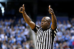 05 February 2017: Referee Clarence Armstrong signals a held ball. The University of North Carolina Tar Heels hosted the University of Notre Dame Fighting Irish at the Greensboro Coliseum in Greensboro, North Carolina in a 2016-17 Division I Men's Basketball game. The game had been postponed one day and moved from Chapel Hill due to a water shortage. UNC won the game 83-76.