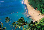 Sunbathers and blue Pacific waters at Ke'e Beach, Na Pali Coast, Island of Kauai, Hawaii USA
