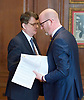 Paul Nuttall MEP <br /> UKIP Leader makes a Brexit speech #SixKeysTests at the Marriott Hotel, London, Great Britain <br /> 27th March 2017 <br /> <br /> Ahead of the Prime Minister triggering Article 50 next week, UKIP Leader Paul Nuttall sets out six key tests by which the country can judge Theresa May's Brexit negotiations in a keynote speech on this coming Monday morning.<br /> <br /> Gerard Batten MEP (left) Paul Nutgall (right)<br /> <br />  <br /> Photograph by Elliott Franks <br /> Image licensed to Elliott Franks Photography Services