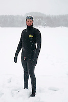 Steinar Schjager (Norway) during freediving competition Oslo Ice Challenge, held at freshwater lake Lutvann outside the Norwegian capital Oslo. Atheletes, including current and former world champions, entered a hole in the ice to compete. The participants reached depths down to 52 meters below the surface.