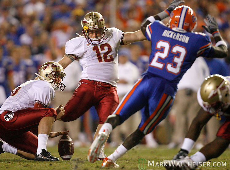 FSU place kicker Gary Cismesia (12) kicks his third field goal in the second quarter of the annual Florida-Florida State football game in Gainesville, Florida November 24, 2007.   (Mark Wallheiser/TallahasseeStock.com)