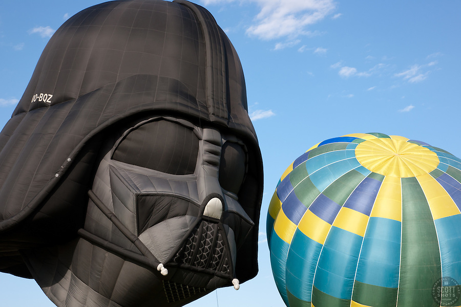 """Darth Vader and a Balloon"" - This photo of the Darth Vader Balloon staring down a colorful balloon was photographed at the 2011 Great Reno Balloon Race."