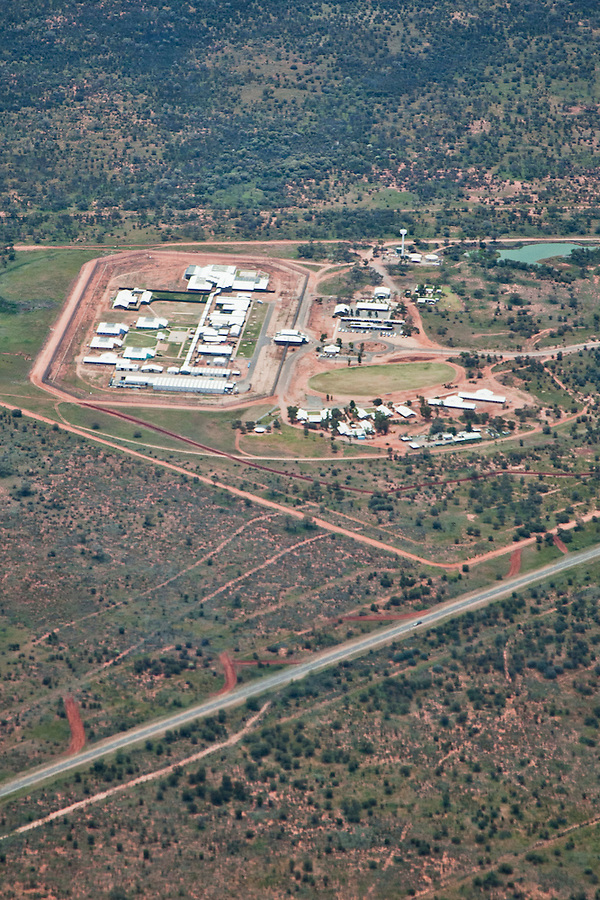 Aerial view of Alice Springs Correctional Centre with the Stuart Highway