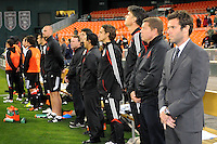 D.C. United head coach Ben Olsen with staff at the presentation of the team.  D.C. United tied The Montreal Impact 1-1, at RFK Stadium, Wednesday April 18 , 2012.