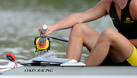 Ottensheim, AUSTRIA. AUS JM2-, Stroke, Matthew DIGNAN, relax's while waiting for the start for the pairs morning heat, at the 2008 FISA Senior and Junior Rowing Championships,  Linz/Ottensheim. Wednesday,  23/07/2008.  [Mandatory Credit: Peter SPURRIER, Intersport Images] Rowing Course: Linz/ Ottensheim, Austria
