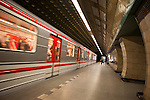 A subway car arrives at a Prague Metro station, Prague, Czech Republic, Europe