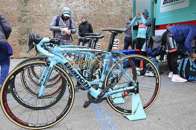 Giusfredi Bianchi team Oltre XR4s lined up before the start of the Ladies 2017 Strade Bianche running 127km from Siena to Siena, Tuscany, Italy 4th March 2017.<br /> Picture: Eoin Clarke | Newsfile<br /> <br /> <br /> All photos usage must carry mandatory copyright credit (&copy; Newsfile | Eoin Clarke)