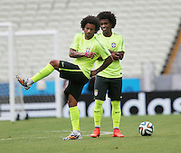 Brazil Players Marcelo(Real Madrid) left and Willian (Chelsea)