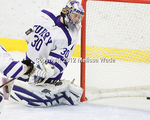 Derek Mohney (Curry - 30) - The Curry College Colonels defeated the Johnson & Wales University Wildcats 5-4 on Curry's senior night on Saturday, February 18, 2012, at Max Ulin Rink in Milton, Massachusetts.
