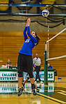 1 November 2015: Yeshiva University Maccabee Middle Blocker Gavriela Colton, a Junior from Teaneck, NJ, bumps one over against the Saint Joseph College Bears at SUNY Old Westbury in Old Westbury, NY. The Bears shut out the Maccabees 3-0 in NCAA women's volleyball, Skyline Conference play. Mandatory Credit: Ed Wolfstein Photo *** RAW (NEF) Image File Available ***