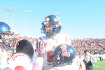 Ole Miss kicker Bryson Rose (81) celebrates vs. Arkansas at War Memorial Stadium in Little Rock, Ark. on Saturday, October 27, 2012. Ole Miss won 30-27...