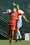 7 November 2007: Clemson's Katie Vogel (13) and North Carolina's Whitney Engen (right) challenge for a header. The University of North Carolina defeated Clemson University 3-0 at the Disney Wide World of Sports complex in Orlando, FL in an Atlantic Coast Conference tournament quarterfinal match.