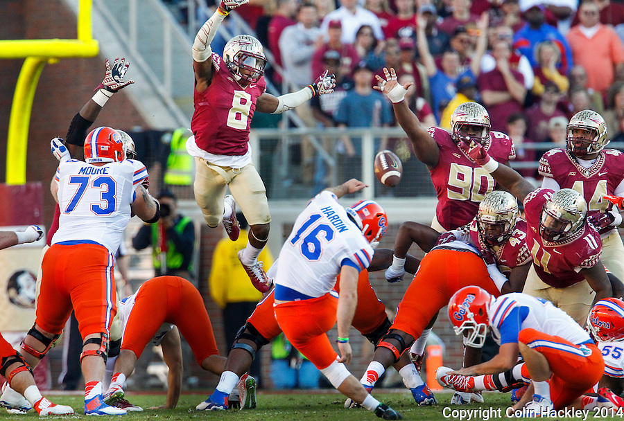 TALLAHASSEE, FL 11/29/14 FSU-UF112914-Florida State defenders can't block the field goal of University of Florida's Austin Hardin during half action Saturday at Doak Campbell Stadium in Tallahassee. <br /> COLIN HACKLEY PHOTO
