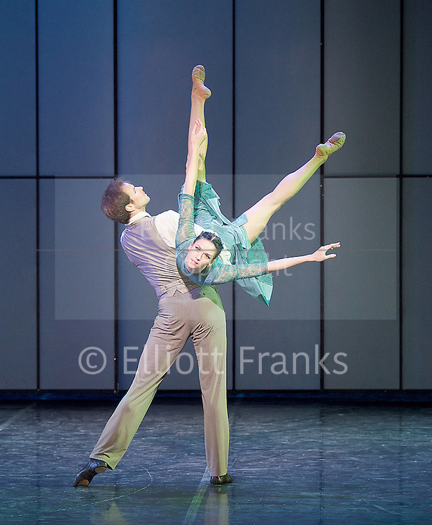 Eifman Ballet<br /> Up &amp; Down<br /> UK Premiere at the  London Coliseum, London, Great Britain <br /> 6th December 2016 <br />  <br /> <br />  <br /> Eifman Ballet return to the UK with the premiere of Artistic Director Boris Eifman&rsquo;s ballet Up &amp; Down. In this photo call, the company will be performing fully lit and costumed scenes from the production.<br />  <br /> Oleg Gabyshev<br /> Lyubov Andreyeva<br /> <br /> <br /> <br />  <br /> Taking place in the magnificent Jazz Age &ndash; the piece evokes the unstoppable feast of life; the era of freedom, sensuality, and hedonism. This special visit will also be a celebration of the internationally renowned Company&rsquo;s 40th anniversary.<br /> <br /> Based on the 1934 F. Scott Fitzgerald novel &lsquo;Tender Is the Night&rsquo;, Up &amp; Down follows the rise and fall of a promising young psychoanalyst and one of his patients; presenting the bizarre kaleidoscope of obsessions, fears and fragments of patients&rsquo; minds. The characters&rsquo; own ups and downs masterfully recreated by Boris Eifman and his dancers.<br /> <br /> <br /> <br /> <br /> Photograph by Elliott Franks <br /> Image licensed to Elliott Franks Photography Services