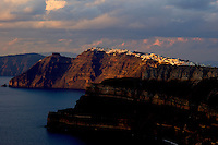 Santorini Cliffs at Sunset