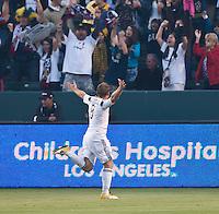 CARSON, CA – June 11, 2011: LA Galaxy midfielder Chris Birchall (8) celebrates his goal during the match between LA Galaxy and Toronto FC at the Home Depot Center in Carson, California. Final score LA Galaxy 2, Toronto FC 2.