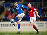St Johnstone v Brechin...07.01.12  Scottish Cup Round 4.Marcus Haber fends off Gerry McLauchlan.Picture by Graeme Hart..Copyright Perthshire Picture Agency.Tel: 01738 623350  Mobile: 07990 594431