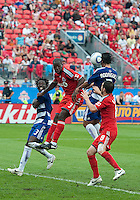 July 24, 2010 FC Dallas forward Milton Rodriguez #7 heads a ball into the Toronto FC net for the equalizer during a game between FC Dallas and Toronto FC at BMO Field in Toronto..Final score was 1-1.