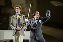 London UK. 19.11.2015. English National Opera presents THE MIKADO, by Arthur Sullivan & W. S. Gilbert, directed by Jonathan Miller, at the London Coliseum. Picture shows: Anthony Gregory (Nanki-Poo), Richard Suart (Ko-Ko). Photograph © Jane Hobson.